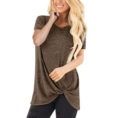 HIRIRI Summer Soft Loose Women's Tops Twist Knotted Blouses Short Sleeve Round Neck Tunic T Shirt (S, - Sleeve Short Volleyball T-shirt