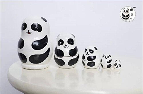 FRE jeu d'imbrication russe en bois de 5pcs Poupées matriochkas nouveauté jouets-cadeaux - Panda
