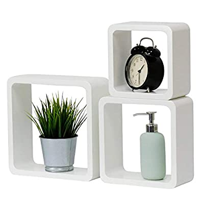 "Kinbor Square Wood Shelves Wall Organizer, Floating Wall Shelf White Set of 3, Perfect for Picture Frames,Collectibles,Decorative Items,Trophy Display - ♥VERSATILE AND UNQIUE LOOK: You have the option to group the shelves together or hang separately for the perfect accent for any room; these shelves will hang flush against the wall. ♥SET OF 3 SQUARE SHELVES:This set includes 3 square shelves; 1 small, 1 medium, and 1 large ♥DIMENSIONS: Large 10.6""L x 10.6""W x 3.8""Thickness; Middle 9""L x 9""W x 3.8""Thickness, Small 7.5""L x 7.5""W x 3.8""Thickness - wall-shelves, living-room-furniture, living-room - 41AHACuNDpL. SS400  -"