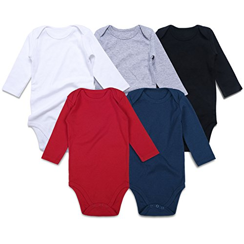 ROMPERINBOX Unisex Solid Multicolor Baby Bodysuits 0-24 Months (Black White Grey Red Navy Long Sleeve 5 Pack, 18-24 - 18 Month Sleeve Onesies Long