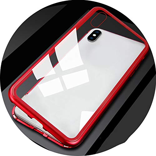 Magnetic Case for iPhone XR XS MAX X 8 Plus 7 + Metal Tempered Glass Back Magnet Cases Cover for iPhone 7 6 6S Plus Case,Clear Red,for iPhone 6 6s,with Front Glass