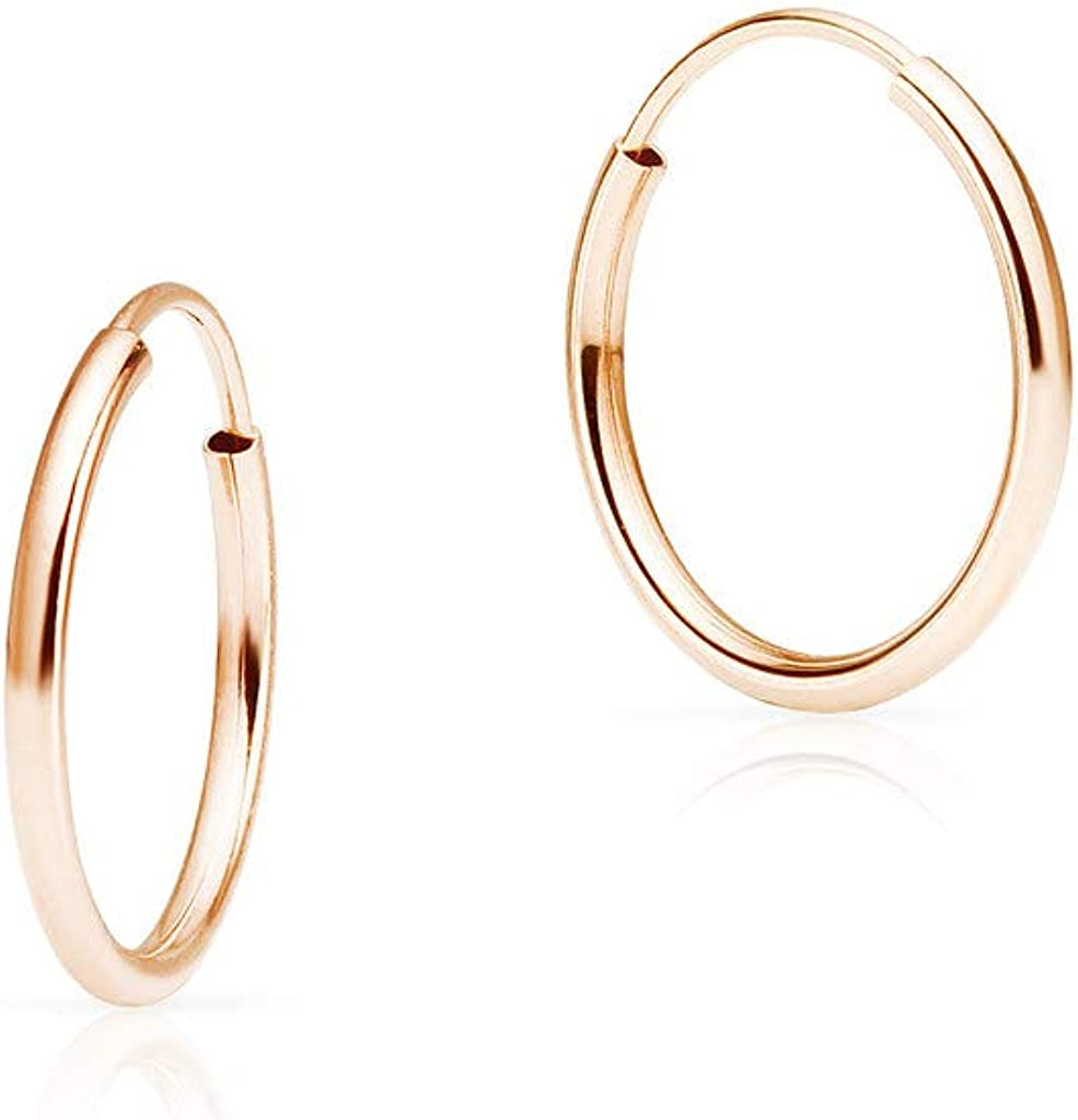 SOLIDGOLD - 14K Endless Gold 10-20mm Infinity Hoop Sleeper Earrings | Yellow, Rose & White Gold