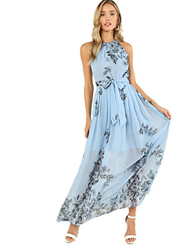 Floerns Women's Sleeveless Halter Neck Vintage Floral Print Maxi Dress Blue-2 M