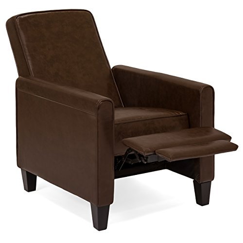 Best Choice Products Upholstered Leather Recliner Club Chair (Brown)