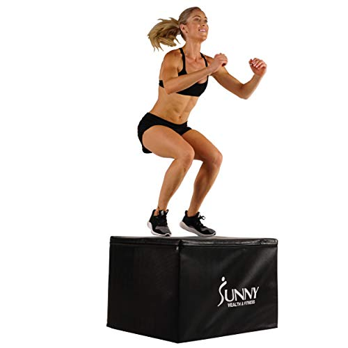 Sunny Health & Fitness Foam Plyo Box, 440lb Weight Capacity with Weighted Foam for Stability and 3 in 1 Height Adjustment – 30″/24″/20″ for Plyometric Training