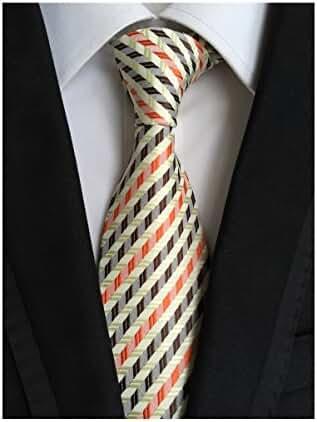 Tender Green Orange-brown Striped Jacquard Woven 100% Silk Men's Tie Necktie