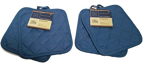Pack of Four (4) Blue Home Store Cotton Pot Holders (2 Sets of 2) (Holders Blue Pot)