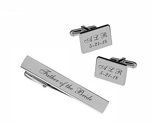 (Personalized Satin Brushed Silver Stainless Steel Cufflinks & Tie Clip Bar Set Engraved Free Cuff Links )