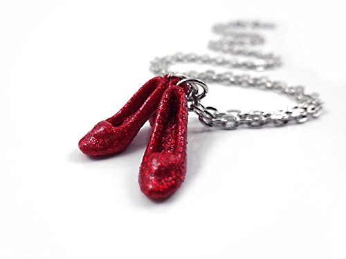 Wizard of Oz Charm Necklace with Dorothy's Sparkly Ruby Red Slippers 18 inch Chain