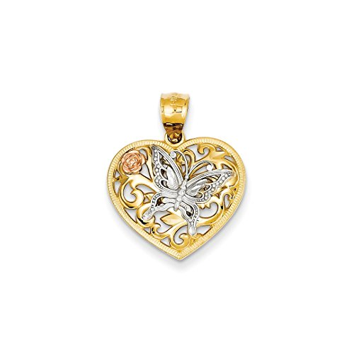 ICE CARATS 14k Tri Color Yellow White Gold Butterfly Heart Pendant Charm Necklace Love Animal Fine Jewelry Ideal Mothers Day Gifts For Mom Women Gift Set From (Butterfly Heart Pendant)