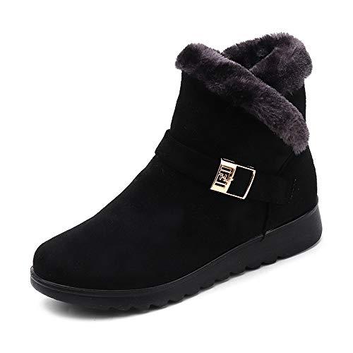 Boots Flat Women Lazzboy Low Black Lining Suede Ankle Zipper Warm Heel Buckle Snow Plush Hffn7YR