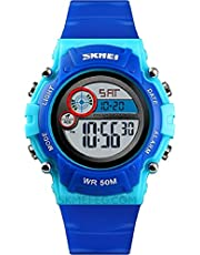 SKIMEI Kids Boys Girls Waterproof Day and Date Display with Alarm Clock - Blue Rubber Frame