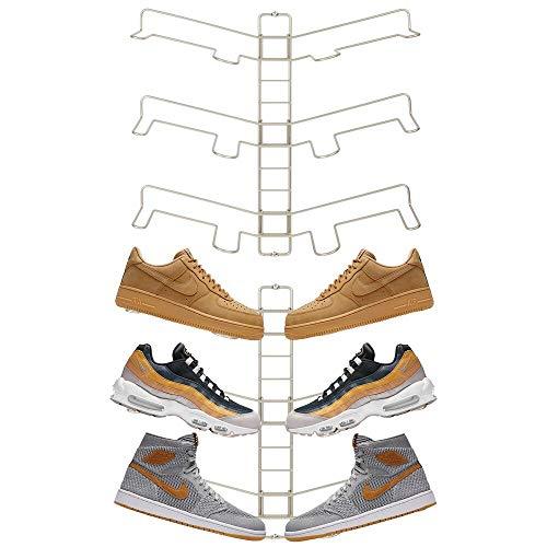 mDesign Modern Metal Shoe Organizer Display & Storage Shelf Rack - Perfect for Sneakers - Store Kicks, Running, Basketball, Tennis Shoes - Adjustable Shelves, 3 Tier, Wall Mount, 2 Pack - Satin