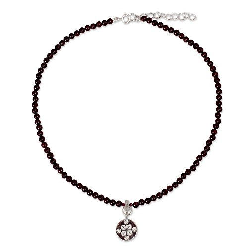 Garnet Bead Necklace - NOVICA Garnet Strand Necklace with 925 Sterling Silver Pendant, 15.75