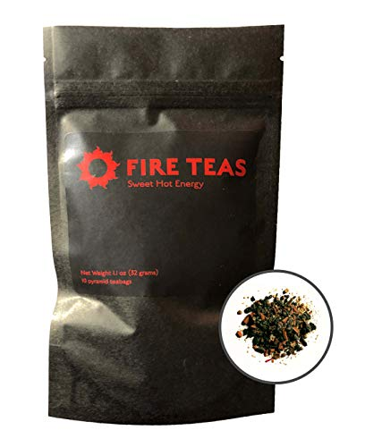 FIRE TEAS Sweet Hot Energy - Saffron, Gunpowder Green Tea, Cinnamon, Ginger, Cardamom in Biodegradable Pyramid Tea Bags. All Natural, Antioxidant Rich, Detoxing, Delicious