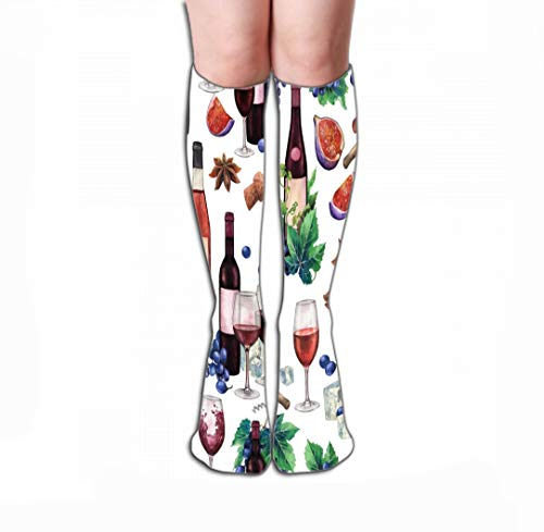 Xunulyn Men Women Outdoor Sports High Socks Stocking red Wine Glasses Bottles Decorated Delicious Food Cheese Blue Grapes figs Black Olives Star Anise Cork Hand Tile Length 19.7