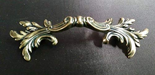 (Cabinet Knobs & Pulls Antique Brass Leafy French Provincial Furniture Dresser Drawer Pull 2-1/2