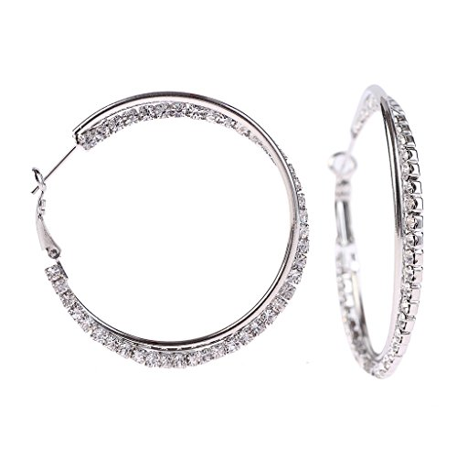 Lingking Two-Tone Diamond Accent Hoop Earrings ID 45mm Classics Women's Rhinestone Hypoallergenic (Id Two Tone Ring)
