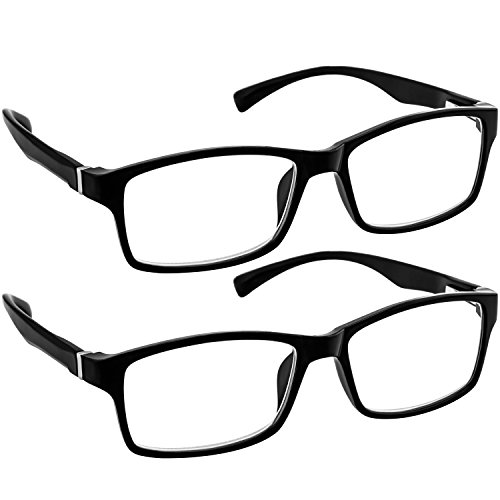 Computer Reading Glasses 1.75 _ Black 2 Pack Protect Your Eyes Against Eye Strain, Fatigue and Dry Eyes from Digital Gear with Anti Blue Light, Anti UV, Anti Glare, and - Personal Titanium Glasses Reading Optics