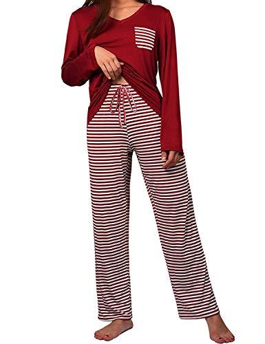 (wishpower Women's Cute Striped Long Sleeve Tee and Pants Pajama Set Wine Red)