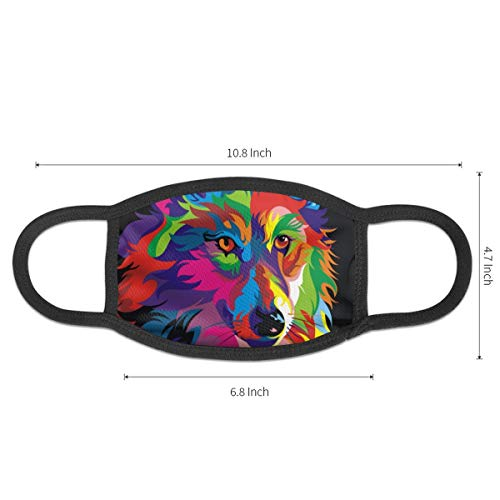 Fashion Face Mask Adjustable Elastic Band Hypoallergenic Face and Nose Cover for Pollen Smog Medical Climbing - Anti Pet Hair Allergy (Psychedelic Wolf Mouth Mask)