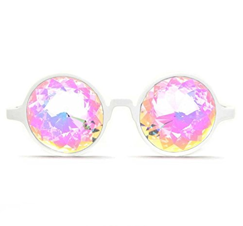 GloFX White Kaleidoscope Glasses- Rainbow
