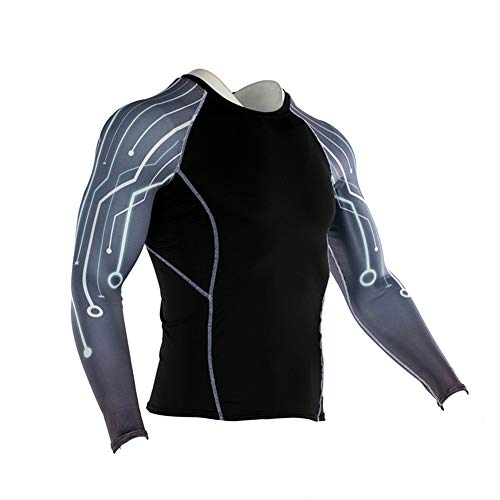 Men's Sports Compression Apparel Base Layers Workout Long Sleeve Shirt Starry Sky Printing Tattoo Running Motion Training Sport Fitness