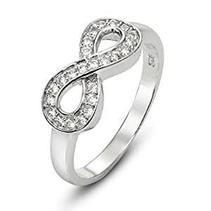 Sz 4 Sterling Silver Cubic Zirconia Infinity Symbol CZ Wedding Band Ring
