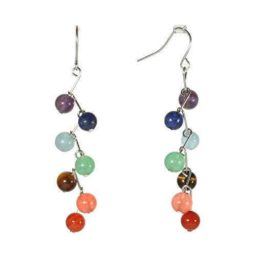 Fashion Multicolored Silvertone Women Grapes Bunch Dangle Earrings Gems Boho Ethnic Oriental Jewelry (Rowan) (Gems Workshop)