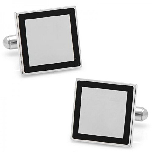 Square Framed Cufflinks for Men or Women Polished Silver Plate Stainless Steel w/Engravable Front ()