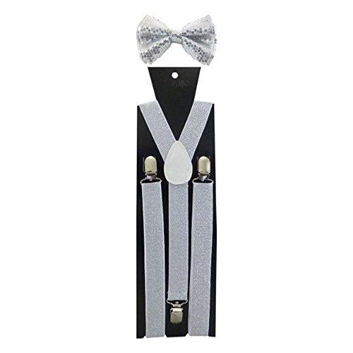 de Accessorystation Combo Sin corbata Mttre regalo Unisex tirantes Brilla y combinados Plata de Sorprendente Paquete Plata colores Brillante Nudo PAgxOPq