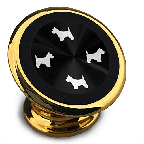 Westie West Highland Terrier Dog Silhouette Black Magnetic Car Phone Mount Holder - Magnetic Mounts 360 Degree Rotation from Dashboard - Universal Car Mount Holder Compatible with All Smartphones