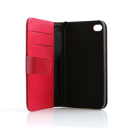 System-S Etui Tasche Case Cover Schutz Hülle Bookstyle in Pink für Apple iPhone 4 4S