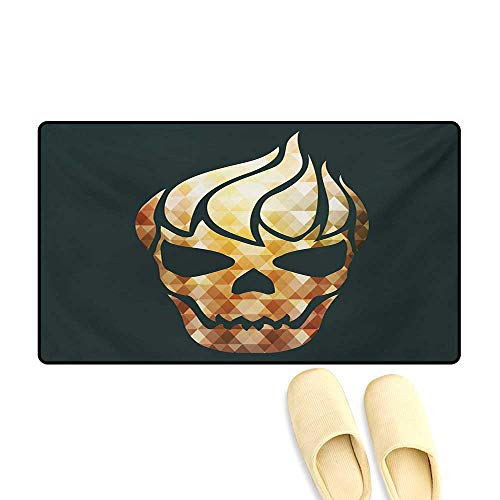 Bath Mat,Gothic Skull with Fractal Effects in Fire Evil Halloween Concept,Door Mats for Inside,Yellow Pale Caramel Dark Grey,16