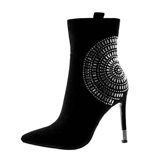 Noir Aiguille Botte Chic Strass 11 Femme Mode Diamant Haut Talon Chaussure Cm Bottine Angkorly Stiletto q16gUZRR