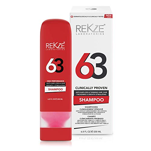 REKZE 63 Hair Growth Shampoo & Anti-Hair Loss, Clinically Proven In FDA Apv Testing Lab, For Men & Women With Thinning Hair, Strong DHT Blocker For Receding Hairline & Pattern Baldness