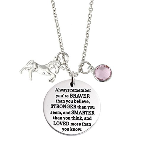 - T-PERFECT LIFE You Are Braver Than You Believe Stainless Steel unicorn Birthstone Pendant Necklace (June)