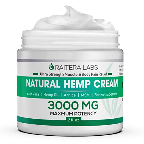 Raitera Hemp Cream for Pain Relief 3000MG - Pure Hemp Oil Extract, MSM, Arnica - Natural Ingredients - Max Strength Balm for Relief Arthritis, Carpal Tunnel, Back, Joint, Nerve, Fibromyalgia, Sciatica