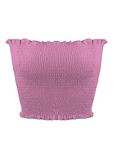 (Sweetbei J Womens Strapless Pleated Summer Sexy Bandeau Tube Crop Tops Lavender XS)