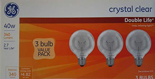 40-Watt Incandescent G25 Globe Double Life Crystal Clear Light Bulb (3-Pack)