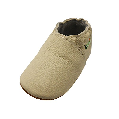 (Sayoyo Lowest Best Baby Soft Sole Prewalkers Skid-Resistant Baby Toddler Shoes Cowhide Shoes (0-6 Months, Beige))