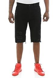 Smoke Rise Men\'s Basic Denim Shorts With Rips-Black-38