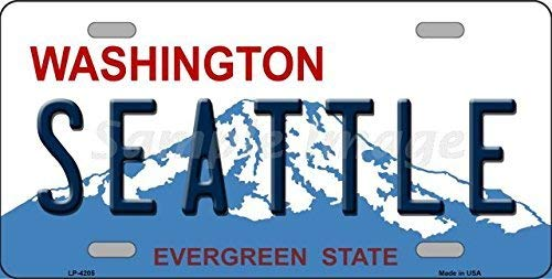NNHG Tin Sign 8x12 inches Washington Novelty State Background License Plate Tag -
