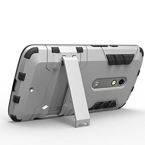 Funda Motorola Moto G3 OuDu Carcasa de Armadura en PC y TPU para Motorola Moto G3 Caja Caucho Soft Silicone Frame Case Hard Back Cover Heavy-Duty Dual-Layer Bumper with Logo Cutout Carcasa Flexible Li Plata