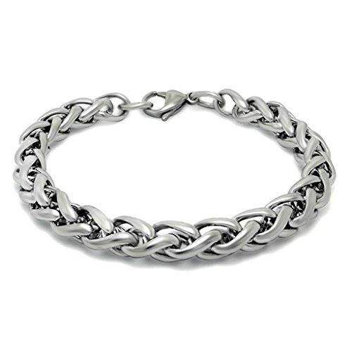 Adisaer Mens Stainless Steel Bracelet Bismark Chain Length 19 CM Silver (Bismark Chain Bracelet)