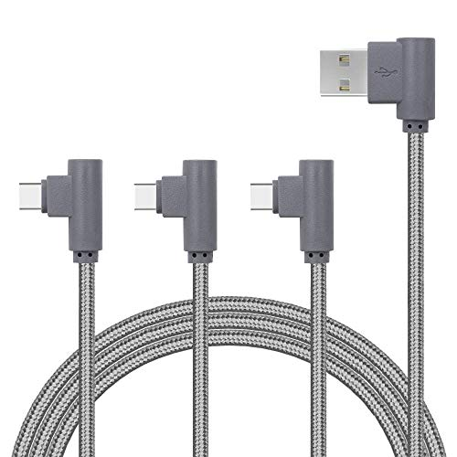 Right Angle Type C Cable 3 Pack 90 Degree USB C Cable Braided, Fast Charging Cord & Data Sync Samsung Galaxy S9 S8 Plus Note8, Google Pixel 2 XL, OnePlus 5T More (Grey, 3pack 3ft 6ft 10ft)