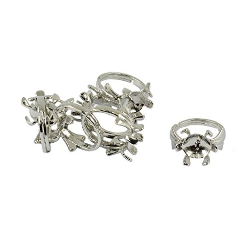 MonkeyJack 6 Pieces Adjustable Blank Pearl Ring 3D Lotus Flower Peg Mount Round Base
