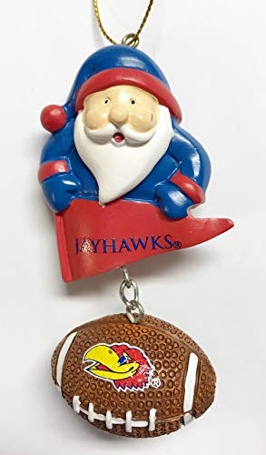 University of Kansas Jayhawks Santa & Football Christmas Tree Ornament - Officially -