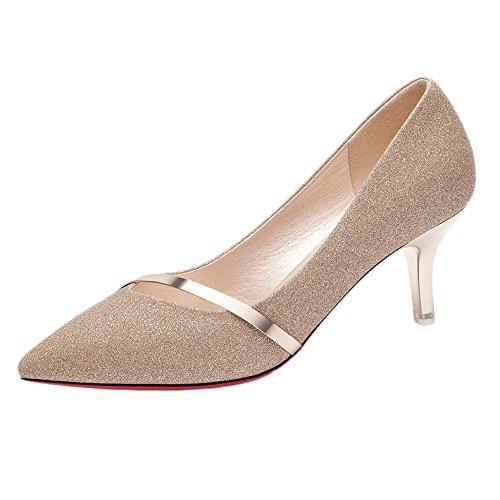 Sexy Zapatos Corte Mujer De Trabajo De Discoteca 38 Gatos Boda De Tacones UK Mujer Fiesta Gold Negro De 5 Moda Zapatos 5 EU Zapatos Altos 6cm zrzXYO