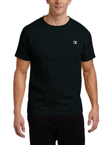 Champion Men's Cotton Jersey Mens T Shirt, L-Black